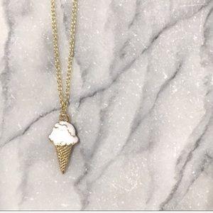 Ice Cream Cone Vanilla Charm Necklace Gold Dainty